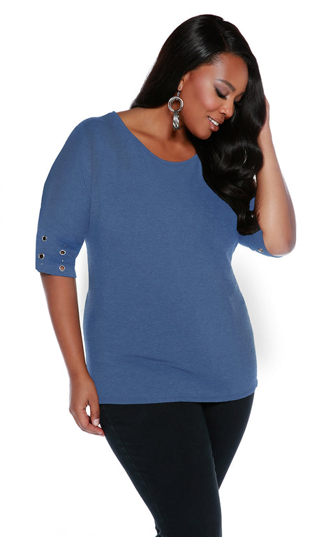 Round Neck Pullover with Banded Grommet Short Sleeves-Plus MINERAL BLUE/SILVER