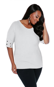 Round Neck Pullover with Banded Grommet Short Sleeves-Plus WINTER WHITE/BLACK
