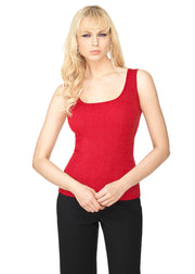 Scoop Neck Ribbed Lurex Tank Top BELLDINI RED