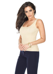 Scoop Neck Ribbed Lurex Tank Top CHAMPAGNE