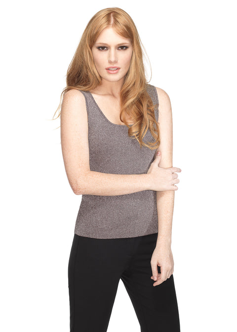 Scoop Neck Ribbed Lurex Tank Top PEWTER