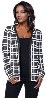 Sequined Long Sleeve Open Cardigan Sweater BLACK/IVORY