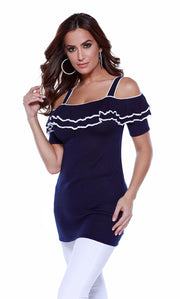 Short Sleeve Off-The-Shoulder Pullover with Ruffle Overlay NAVY/WHITE