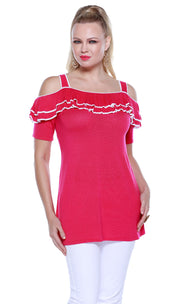 Short Sleeve Off-The-Shoulder Pullover with Ruffle Overlay POMEGRANATE PUNCH/WHITE
