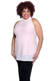 Sleeveless High Collar Pullover Top With Scattered Rhinestones & Chiffon Hem BLUSH/WHITE