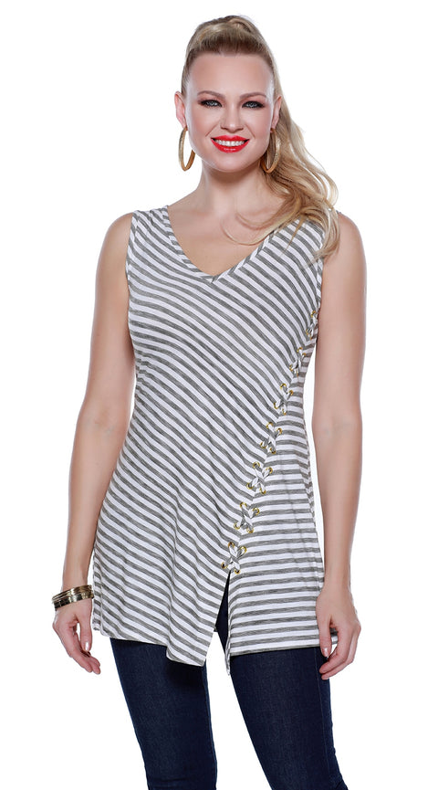 Sleeveless Pullover Tunic with Diagonal Stripes and Laced Side Detail WHITE/BLACK