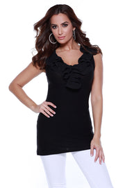 Sleeveless Pullover Tunic with Ruffle Neckline BLACK
