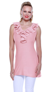 Sleeveless Pullover Tunic with Ruffle Neckline PINK SHELL