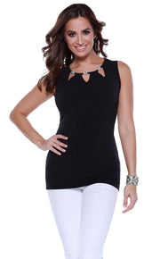Sleeveless Pullover with Cutouts and Rhinestone Details BLACK