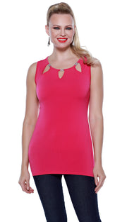 Sleeveless Pullover with Cutouts and Rhinestone Details POMEGRANATE PUNCH