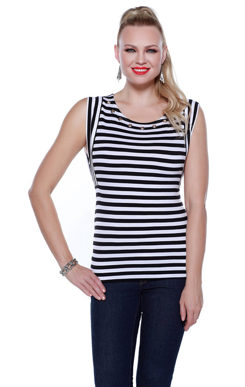 Sleeveless Striped Pullover Tunic with Grommets at Neckline BLACK/WHITE