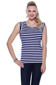 Sleeveless Striped Pullover Tunic with Grommets at Neckline NAVY/WHITE