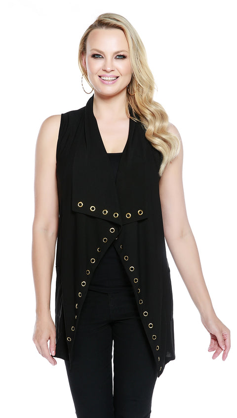 Sleeveless Vest with Pockets BLACK/GOLD
