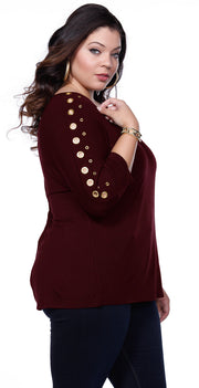 Solid Tunic Pullover with Grommet Sleeves - Plus BLACK CHERRY/GOLD