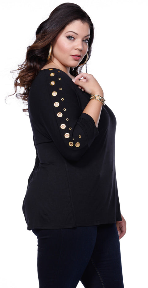 Solid Tunic Pullover with Grommet Sleeves - Plus BLACK/GOLD