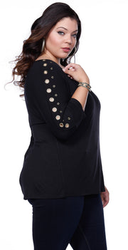 Solid Tunic Pullover with Grommet Sleeves - Plus BLACK/SILVER