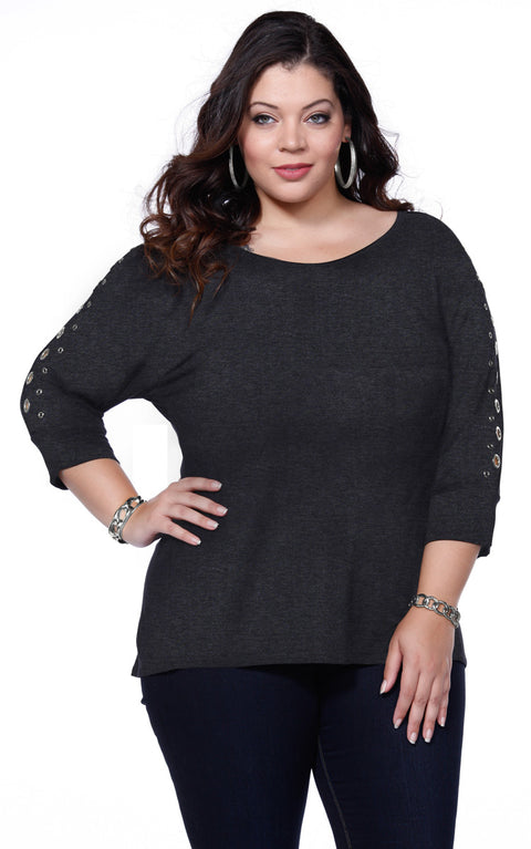 Solid Tunic Pullover with Grommet Sleeves - Plus HEATHER CHARCOAL/SILVER
