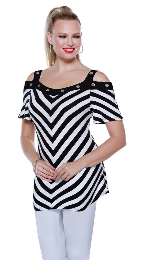 Striped Short Sleeve Off-The-Shoulder Pullover with Rhinestone Grommets BLACK/WHITE