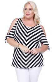 Tie Sleeve Cold Shoulder V-Stripe Top - Plus BLACK/WHITE