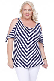 Tie Sleeve Cold Shoulder V-Stripe Top - Plus NAVY/WHITE
