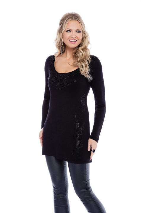 Tribal Studded Print Pullover Tunic BLACK/BLACK