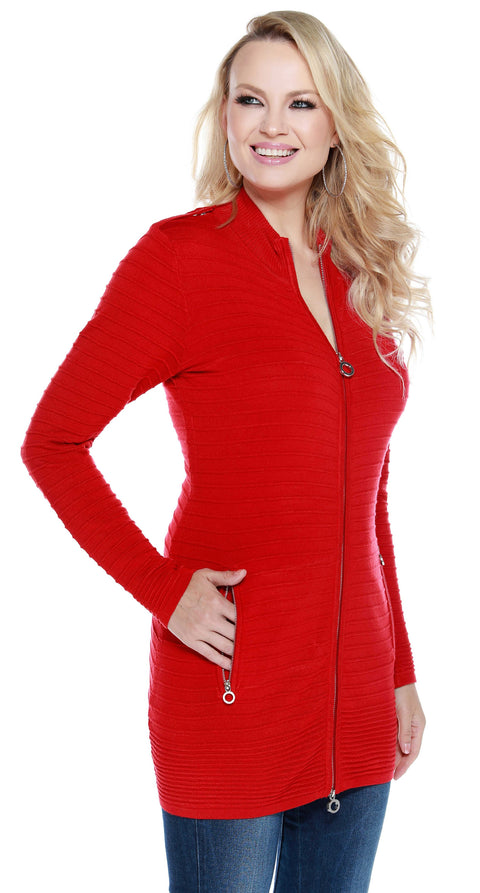 Tunic Length Horizontal Rib Metal Zip Cardigan BELLDINI RED