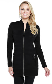 Tunic Length Horizontal Rib Metal Zip Cardigan BLACK
