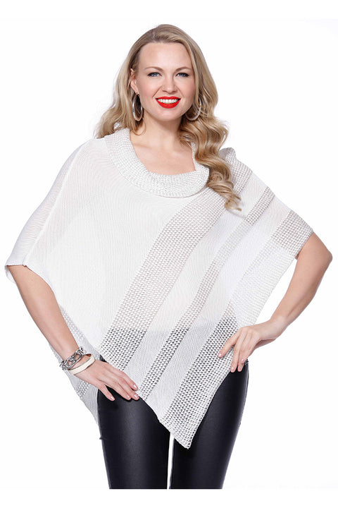 Two Tone Striped Cowl Neck Poncho Sweater IVORY/SILVER