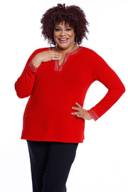 V-Neck Long Sleeve Pullover with Metal Studs - Plus BELLDINI RED