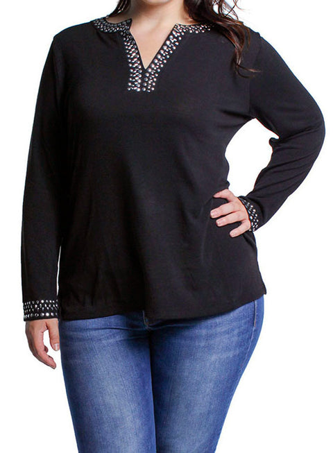 V-Neck Long Sleeve Pullover with Metal Studs - Plus BLACK
