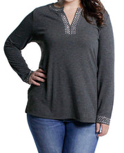 V-Neck Long Sleeve Pullover with Metal Studs - Plus HEATHER CHARCOAL