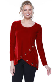 Velvet Long Sleeve Crossover Top with Rhinestone Grommets at the Hem BELLDINI RED