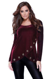 Velvet Long Sleeve Crossover Top with Rhinestone Grommets at the Hem BLACK CHERRY