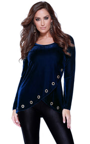 Velvet Long Sleeve Crossover Top with Rhinestone Grommets at the Hem NAVY