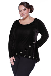 Velvet Long Sleeve Rhinestone Crossover Top - Plus Size