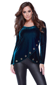 Velvet Long Sleeve Crossover Top with Rhinestone Grommets at the Hem WINTER TEAL