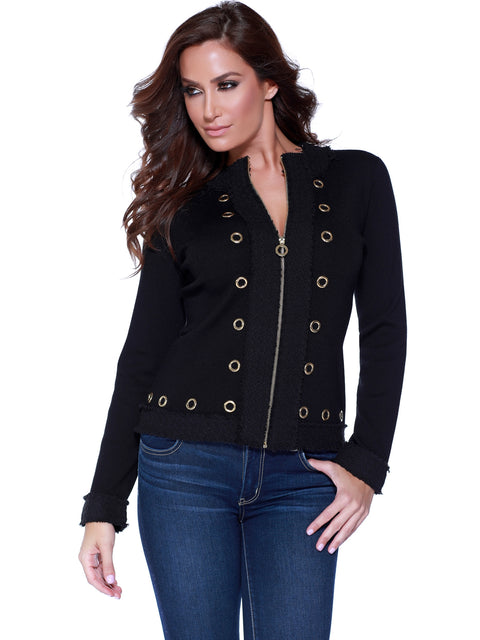 Zip Up Cardigan With Tweed Trim and Grommet Detail BLACK/BLACK/GOLD