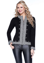 Zip Up Cardigan With Tweed Trim and Grommet Detail BLACK/WHITE/SILVER