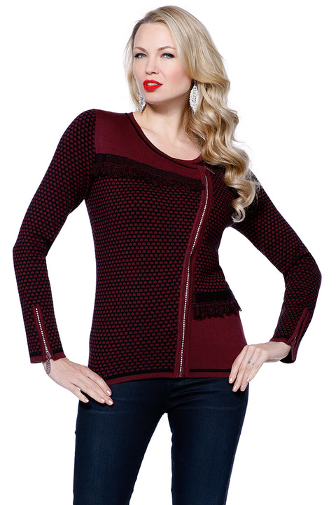 Zip-Up Long Sleeve Patterned Fringe Sweater BLACK CHERRY/BLACK