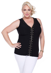 Zip Up Tank With Laced Grommets Can Be Worn Open Or Closed - Plus BLACK/GOLD