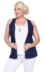 Zip Up Tank With Laced Grommets Can Be Worn Open Or Closed - Plus NAVY/GOLD