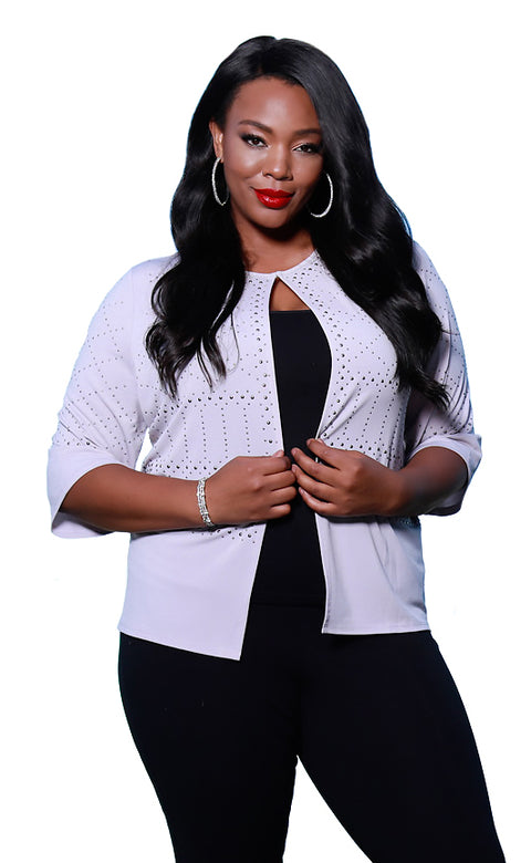 Crop Cardigan with Studded Detail - PLUS SIZE