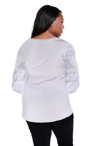 Blouson Sleeve Tunic with Studded Detail - PLUS SIZE