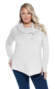 Soft French Terry Tunic with Drawstring Cowl Neck - PLUS SIZE