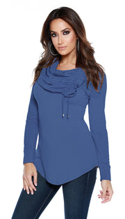 Long Sleeve Ruched Cowl V-Hem Pullover with Thumb Holes