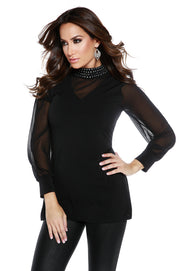 Chiffon Blouson Sleeve Tunic with Bejeweled Neck