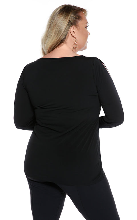Peakaboo Sleeve Tunic with Raindrop Embellishment - PLUS SIZE