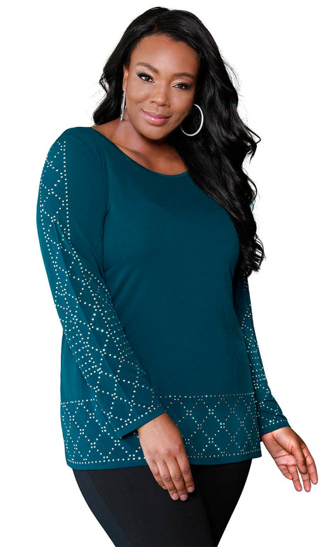 Diamond Studded Border Tunic - PLUS SIZE