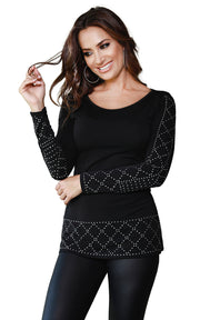 Diamond Studded Border Tunic