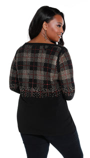 Ombré Plaid Studded Tunic - PLUS SIZE